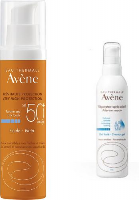 AVENE SUN CARE Fluid SPF50+ 50 ml  + AVENE After-sun kremowy żel po opalaniu 50 ml