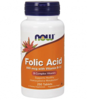 NOW FOODS Folic acid 800mcg Kwas foliowy 250 tabletek