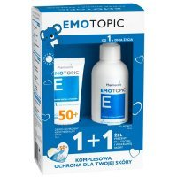 PHARMACERIS EMOTOPIC dermo-ochronny krem mineralny SPF50+  75 ml + EMOTOPIC żel myjący 190 ml